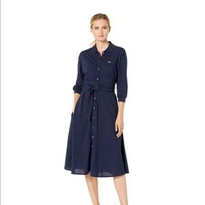 Lacoste Long Sleeve Belted Shirtdress